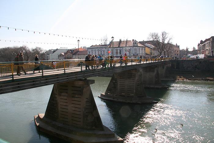 Река Уж, пешеходный мост